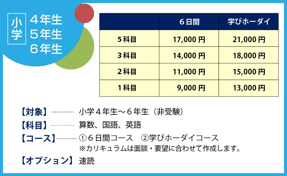 夏期講習価格表4-5